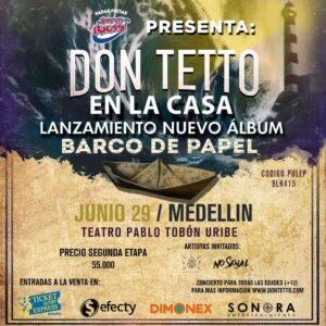 """Don Tetto de concierto en Medellín con su """"Barco de Papel"""""""