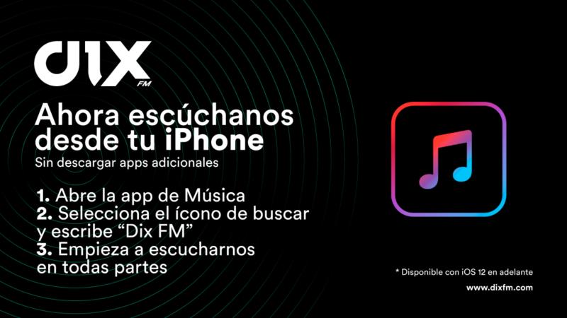 Escucha Dix FM desde tu iPhone sin descargar apps adicionales